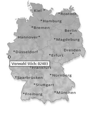 Vorwahl Telefon Stich, Eschweiler: 02403
